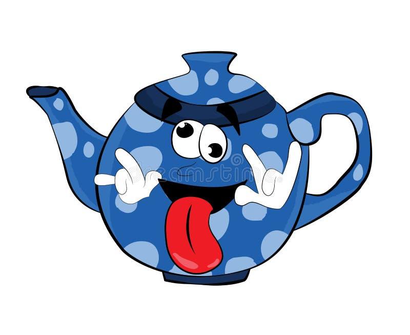 Τρελλά Teapot κινούμενα σχέδια διανυσματική απεικόνιση