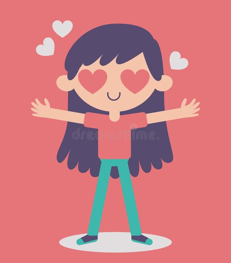 Τρελλός ερωτευμένος χαριτωμένων κοριτσιών διανυσματική απεικόνιση