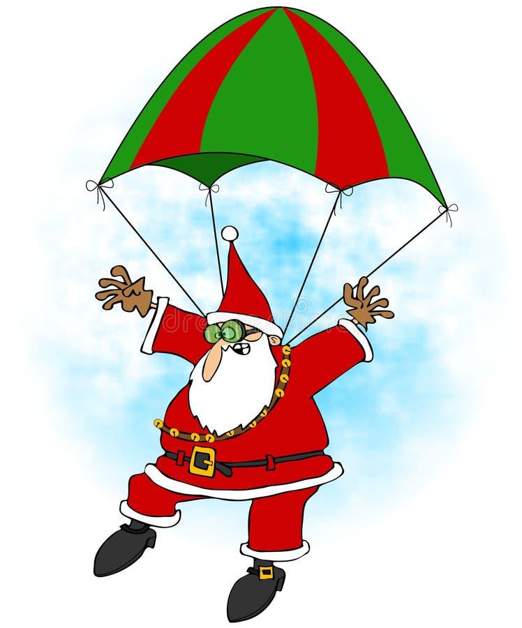 Τρελλό Santa skydiver ελεύθερη απεικόνιση δικαιώματος