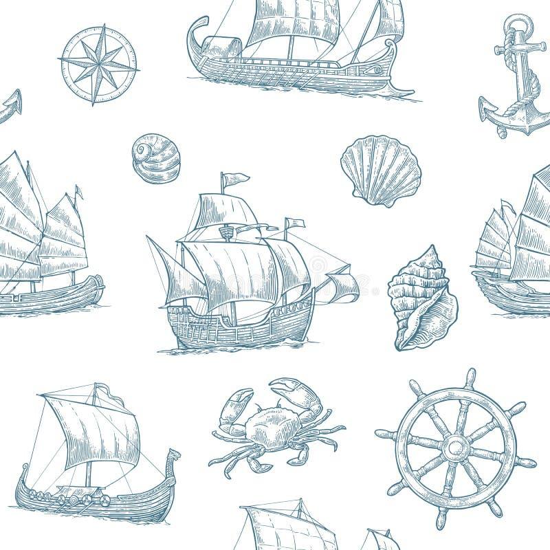 Τριήρης, καραβέλα, drakkar, παλιοπράγματα Η καθορισμένη ναυσιπλοΐα στέλνει τα επιπλέοντα κύματα θάλασσας απεικόνιση αποθεμάτων
