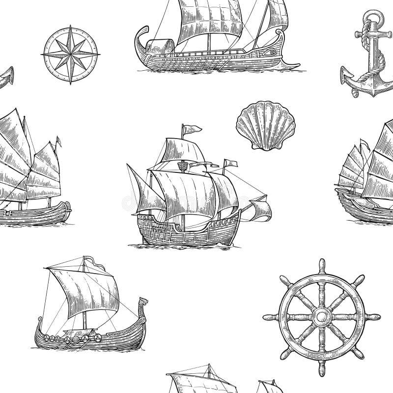 Τριήρης, καραβέλα, drakkar, παλιοπράγματα Η καθορισμένη ναυσιπλοΐα στέλνει τα επιπλέοντα κύματα θάλασσας ελεύθερη απεικόνιση δικαιώματος
