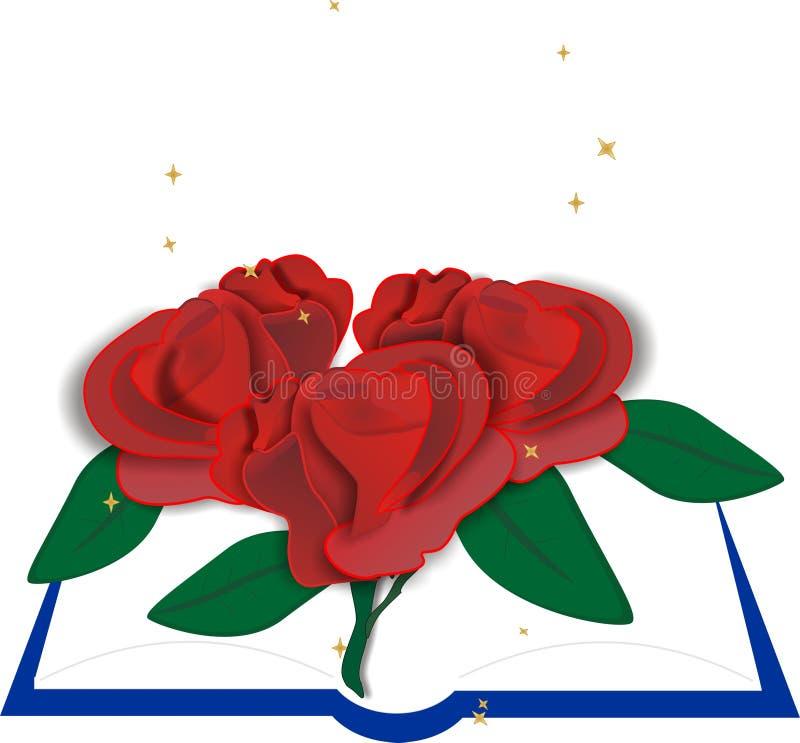 τριαντάφυλλα βιβλίων απεικόνιση αποθεμάτων