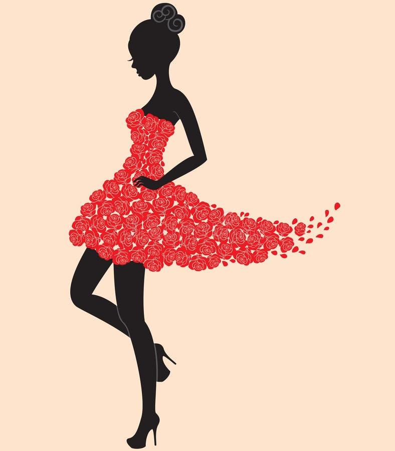 τριαντάφυλλα κοριτσιών φορεμάτων χορευτών ελεύθερη απεικόνιση δικαιώματος