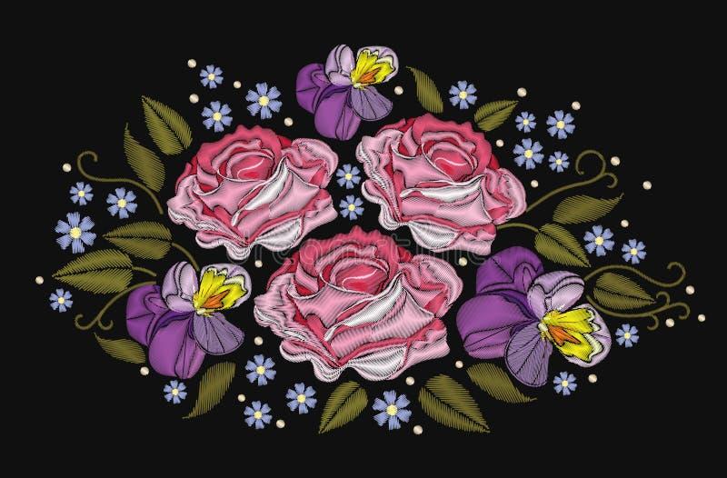Τριαντάφυλλα λουλουδιών και pansies απομονωμένος στο μαύρο υπόβαθρο επίσης corel σύρετε το διάνυσμα απεικόνισης Στοιχείο κεντητικ ελεύθερη απεικόνιση δικαιώματος