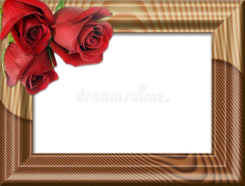 τριαντάφυλλα πλαισίου ξύλινα απεικόνιση αποθεμάτων