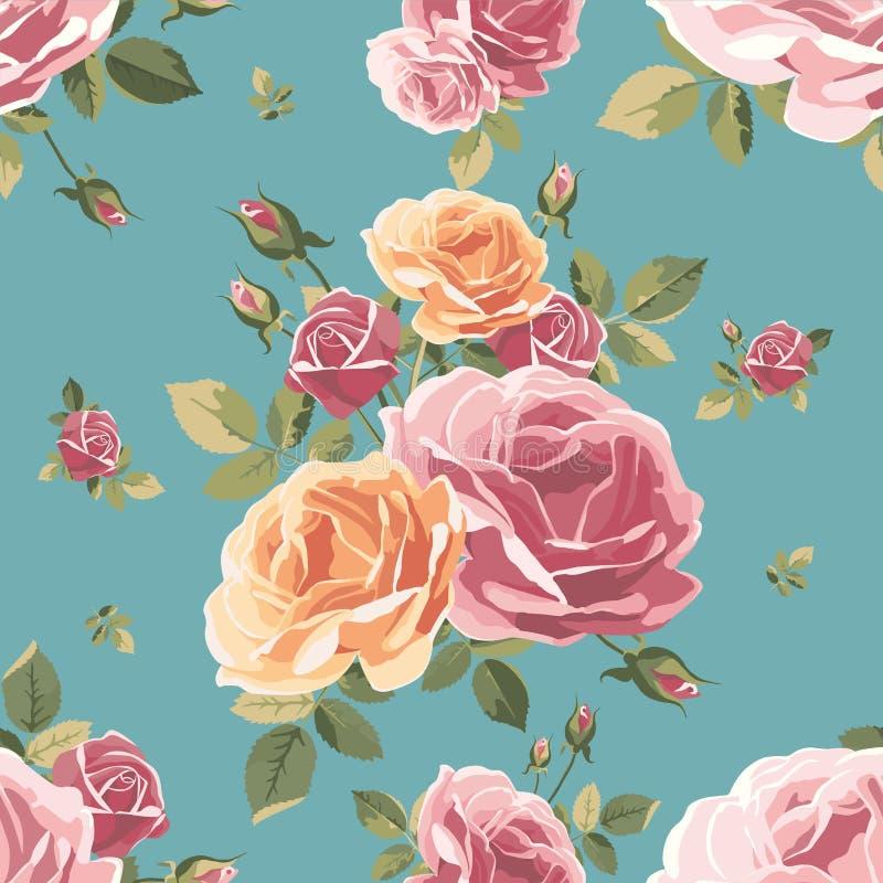 τριαντάφυλλα προτύπων άνε&upsi ανασκόπησης ξηρός floral βρώμικος λεκιασμένος φυτό τρύγος εγγράφου φύλλων παλαιός διανυσματική απεικόνιση