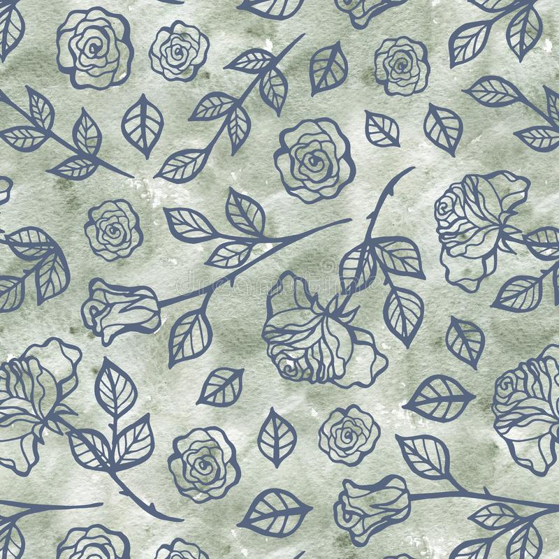 Τριαντάφυλλα σχεδιασμένα Με Το Χέρι, Που Μιμείται Λαϊκά Ράμματα Κεντήματος, Σε Σκούρο Μπλε Φόντο Σχέδιο Χωρίς Άνεση ελεύθερη απεικόνιση δικαιώματος