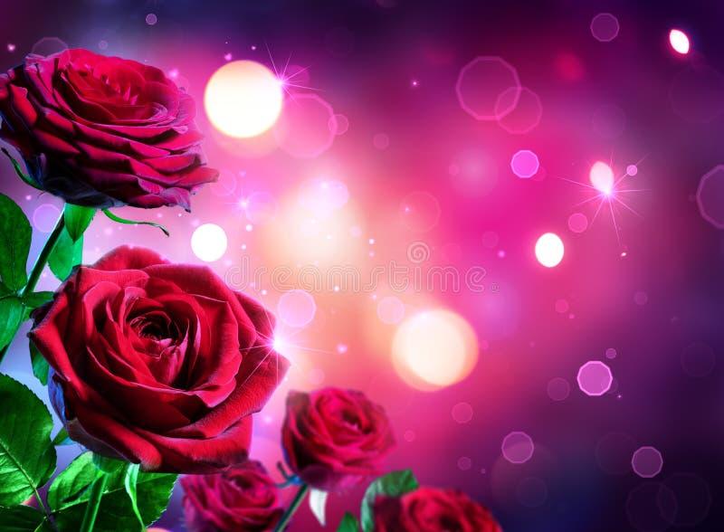 Τριαντάφυλλα για την ημέρα βαλεντίνων - πυράκτωση μορφής καρδιών στοκ εικόνες