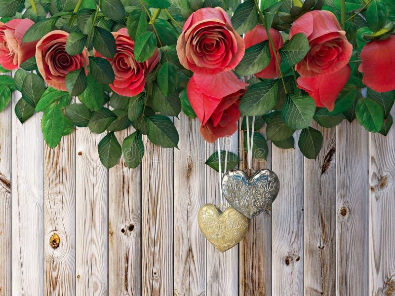 Τριαντάφυλλα και καρδιές στον ξύλινο πίνακα, υπόβαθρο διακοπών ημέρας βαλεντίνων στοκ εικόνα με δικαίωμα ελεύθερης χρήσης