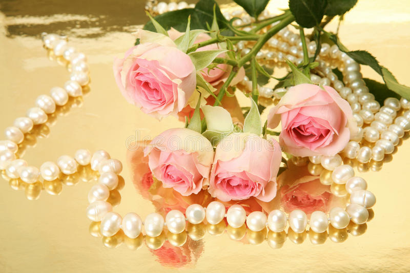Τριαντάφυλλα και μαργαριτάρια στοκ εικόνες