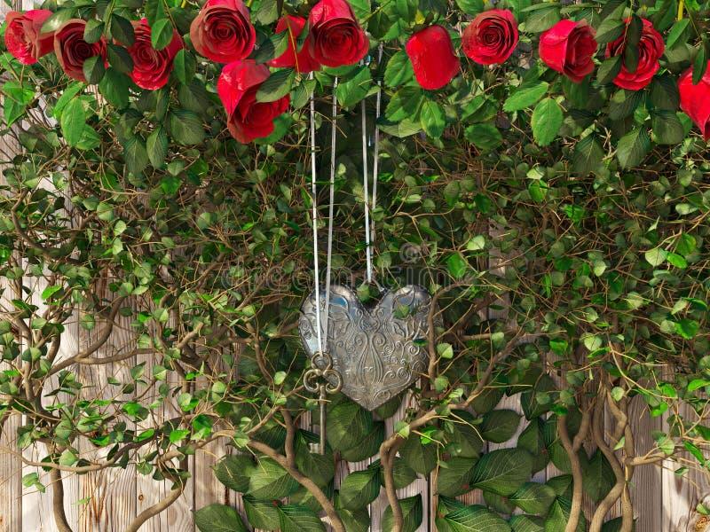 Τριαντάφυλλα και μια καρδιά με το κλειδί στον ξύλινο πίνακα στοκ φωτογραφία