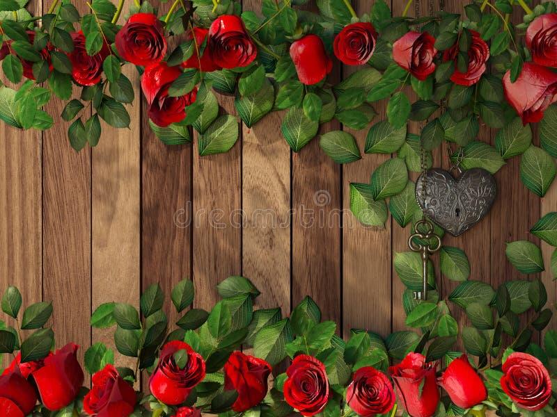 Τριαντάφυλλα και μια καρδιά με το κλειδί στον ξύλινο πίνακα στοκ εικόνα με δικαίωμα ελεύθερης χρήσης