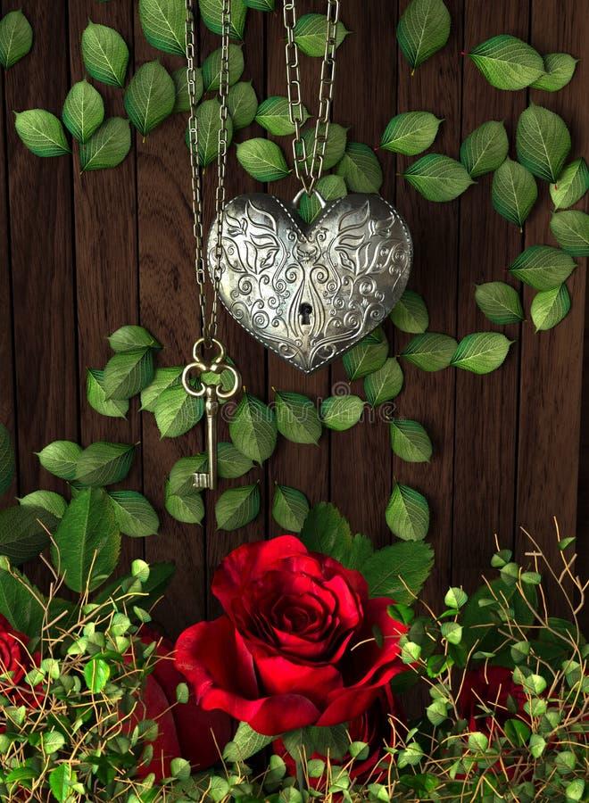 Τριαντάφυλλα και μια καρδιά με το κλειδί στον ξύλινο πίνακα στοκ εικόνες με δικαίωμα ελεύθερης χρήσης