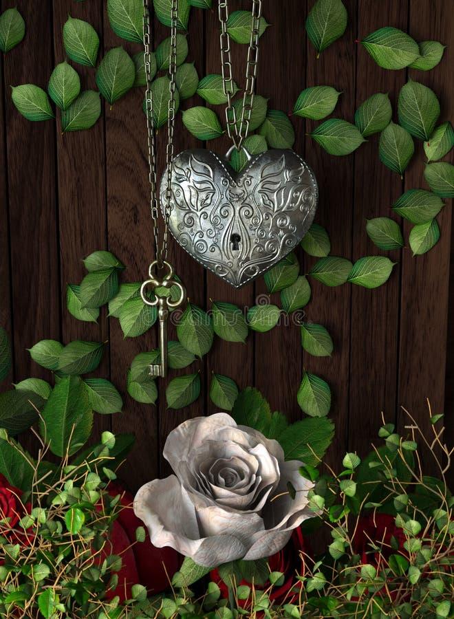 Τριαντάφυλλα και μια καρδιά με το κλειδί στον ξύλινο πίνακα στοκ εικόνες