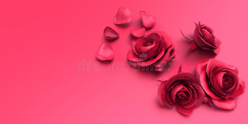 Τριαντάφυλλα και πέταλα αγάπης ημέρας βαλεντίνων στο ρόδινο υπόβαθρο στοκ εικόνες