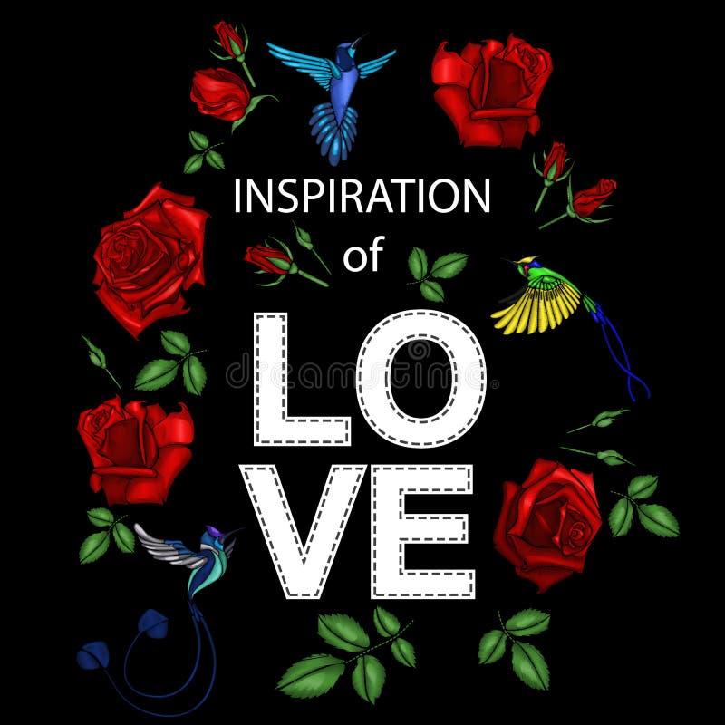 Τριαντάφυλλα κεντητικής και μικρά πουλιά με ένα σύνθημα Μπάλωμα για τις γυναίκες ` s, μπλούζες κοριτσιών ` επίσης corel σύρετε το ελεύθερη απεικόνιση δικαιώματος