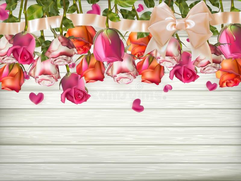 Τριαντάφυλλα με την κορδέλλα 10 eps ελεύθερη απεικόνιση δικαιώματος