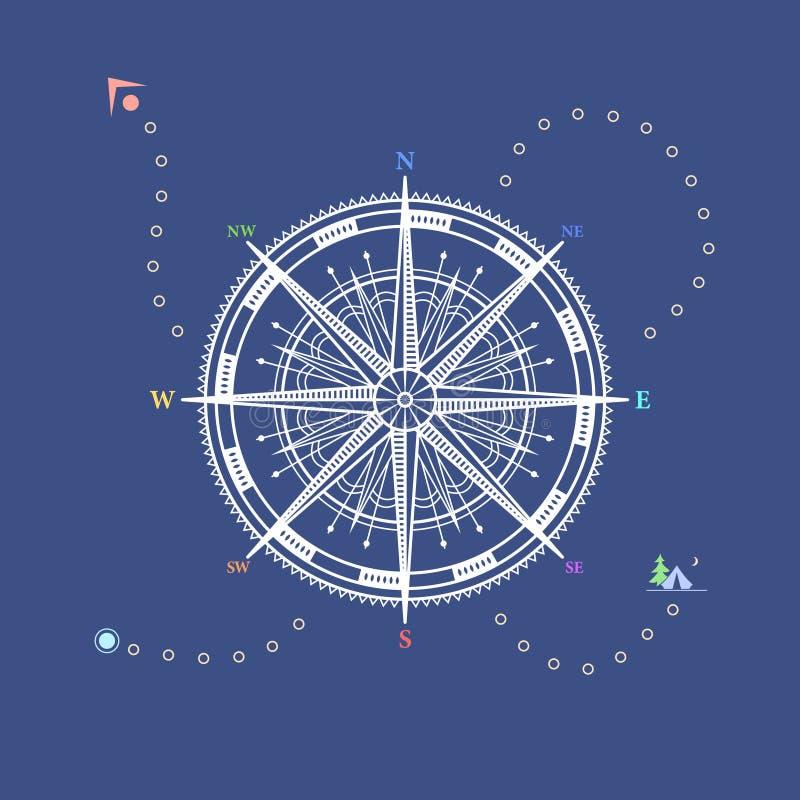 Τριαντάφυλλο πυξίδων, σχέδιο ύφους γραμμών διανυσματική απεικόνιση