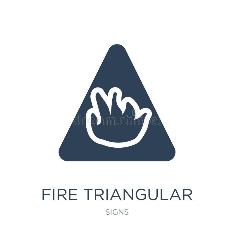 τριγωνικό εικονίδιο πυρκαγιάς στο καθιερώνον τη μόδα ύφος σχεδίου τριγωνικό εικονίδιο πυρκαγιάς που απομονώνεται στο άσπρο υπόβαθ απεικόνιση αποθεμάτων