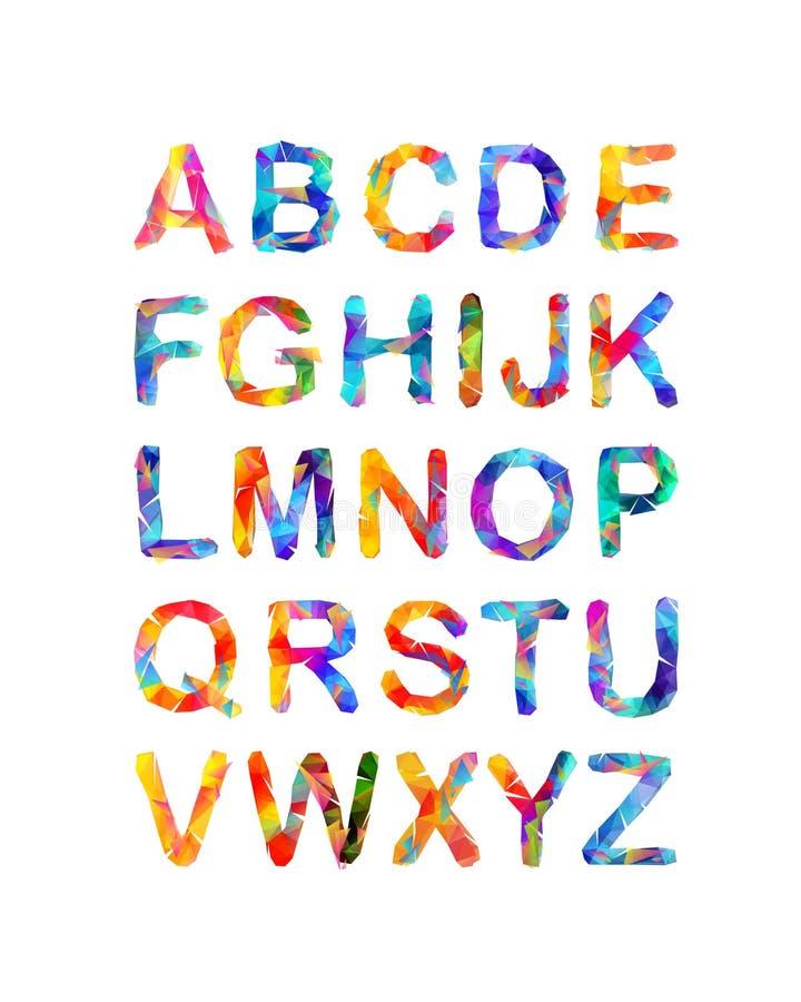 Τριγωνικό διανυσματικό αλφάβητο επιστολές πολύχρωμες διανυσματική απεικόνιση