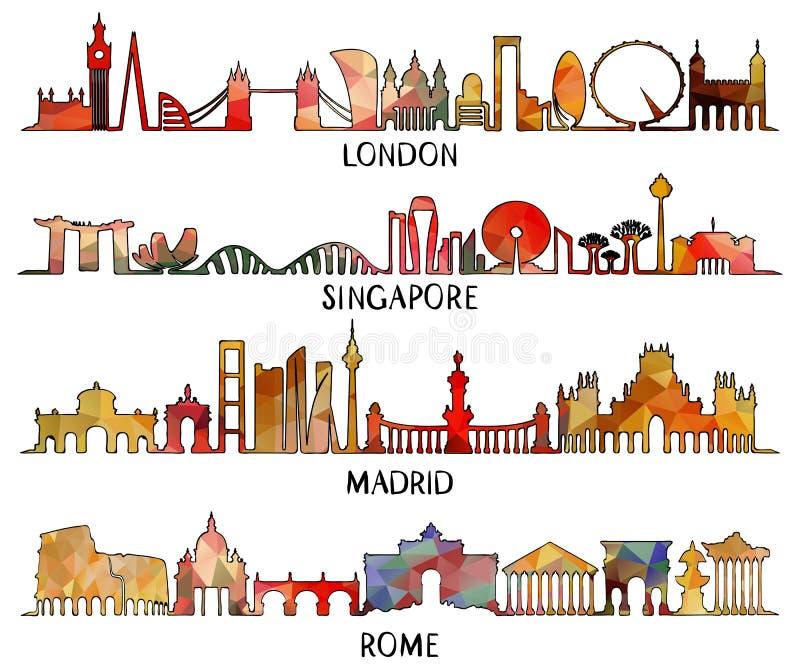 Τριγωνικό σχέδιο Λονδίνο, Σιγκαπούρη, Μαδρίτη, Ρώμη απεικόνιση αποθεμάτων