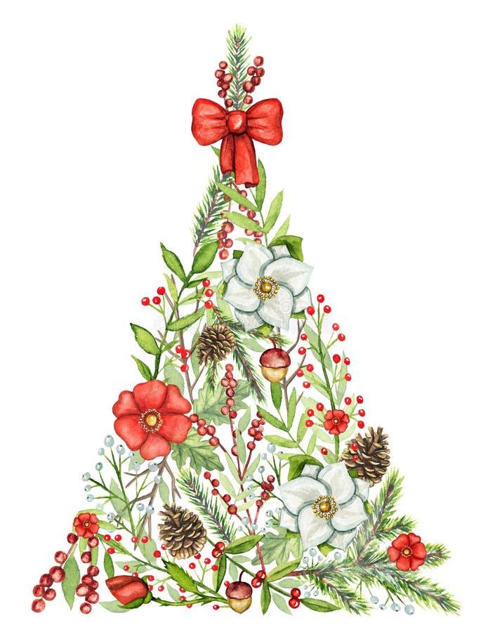 Τριγωνικό χριστουγεννιάτικο δέντρο Watercolor με τα λουλούδια, μούρα, πίτουρο απεικόνιση αποθεμάτων
