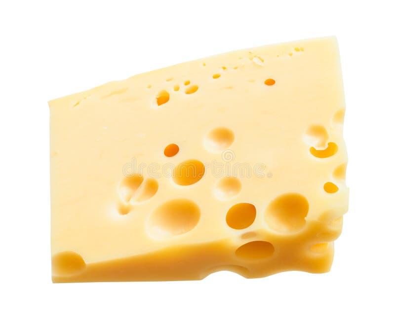 Τριγωνικό hunk του κίτρινου ημίσκληρου ελβετικού τυριού στοκ φωτογραφία με δικαίωμα ελεύθερης χρήσης