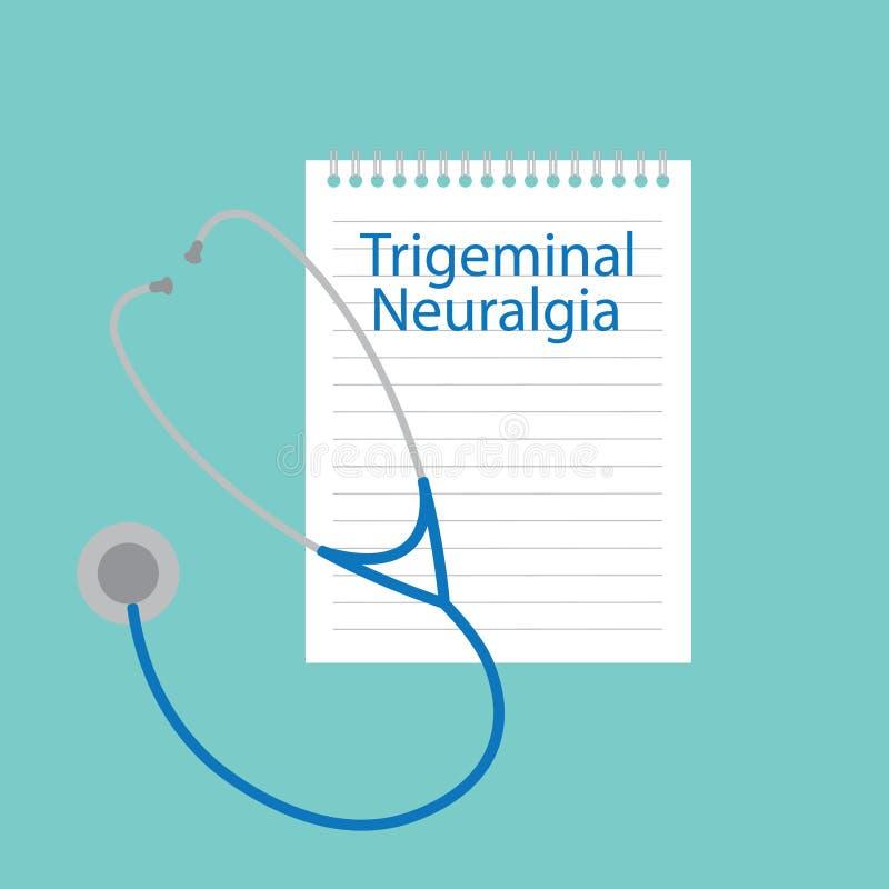 Τριεμβρυική νευραλγία που γράφεται σε ένα σημειωματάριο διανυσματική απεικόνιση