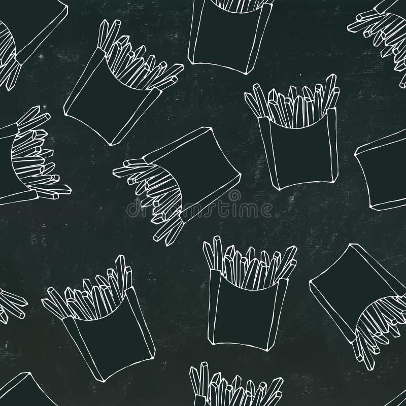Τριζάτο άνευ ραφής σχέδιο τηγανιτών πατατών με τα κιβώτια εγγράφου της τηγανισμένης πατάτας Ρεαλιστικό συρμένο χέρι σκίτσο ύφους  ελεύθερη απεικόνιση δικαιώματος