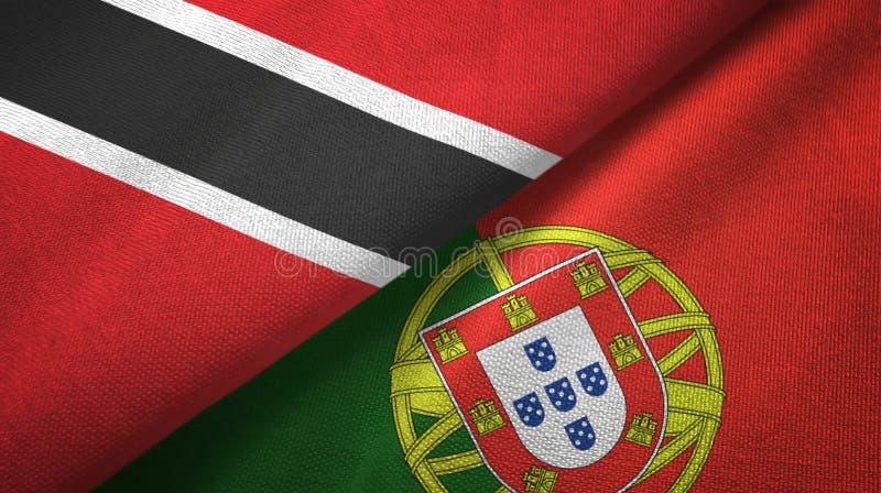 Τρινιδάδ και Τομπάγκο και Πορτογαλία δύο υφαντικό ύφασμα σημαιών, σύσταση υφάσματος απεικόνιση αποθεμάτων