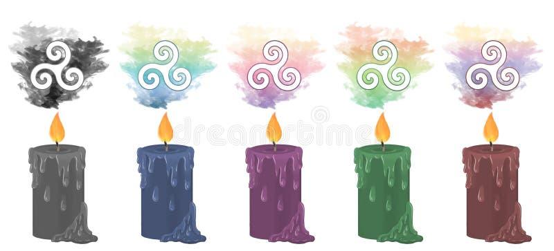 Τριπλά σπειροειδή κεριά συμβόλων διανυσματική απεικόνιση