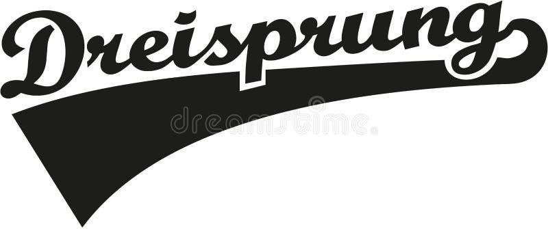 Τριπλή λέξη αναδρομικό γερμανικό Dreisprung άλματος ελεύθερη απεικόνιση δικαιώματος