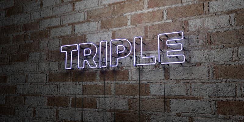 ΤΡΙΠΛΑΣΙΟ - Καμμένος σημάδι νέου στον τοίχο τοιχοποιιών - τρισδιάστατο δικαίωμα ελεύθερη απεικόνιση αποθεμάτων απεικόνιση αποθεμάτων