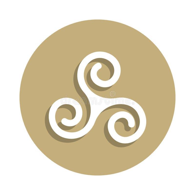 Τριπλό σπειροειδές εικονίδιο σημαδιών Druidism στο ύφος διακριτικών Ένα από το εικονίδιο συλλογής συμβόλων θρησκείας μπορεί να χρ ελεύθερη απεικόνιση δικαιώματος