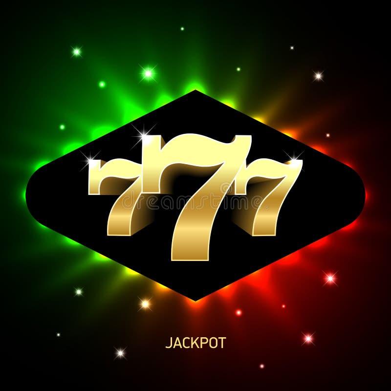 Τριπλό έμβλημα τζακ ποτ χαρτοπαικτικών λεσχών sevens ελεύθερη απεικόνιση δικαιώματος