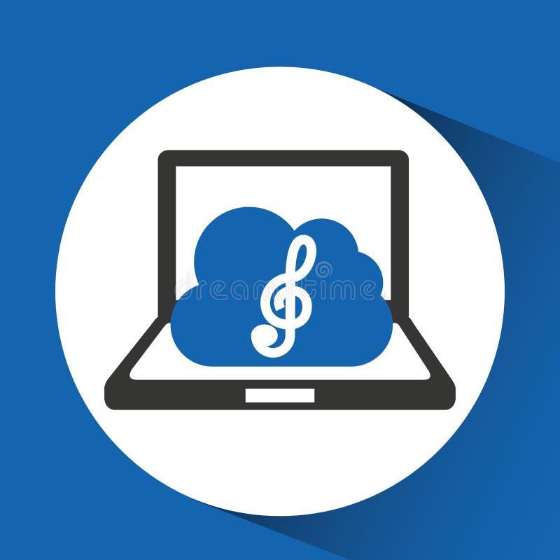 Τριπλό clef σύννεφων μουσικής τεχνολογίας ελεύθερη απεικόνιση δικαιώματος