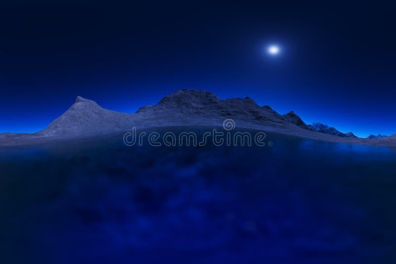 τρισδιάστατα απόδοση καμμμένα βουνά νύχτας στο τοπίο πανσελήνων κανένα υπόβαθρο αντανακλάσεων απεικόνιση αποθεμάτων