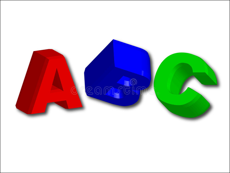 τρισδιάστατα γράμματα ABC (εύκολα ως abc) διανυσματική απεικόνιση