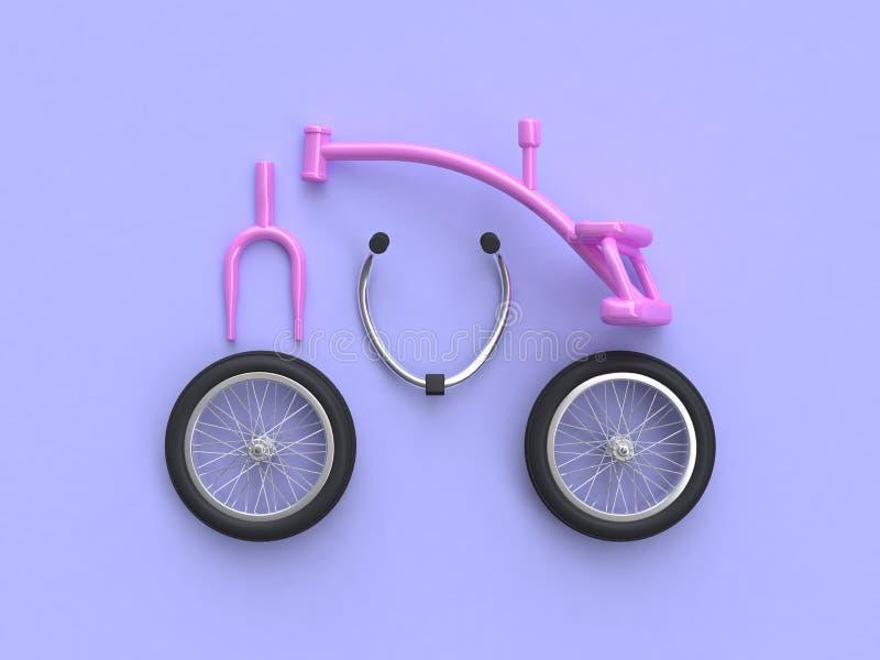 τρισδιάστατα δίνοντας αφηρημένα ρόδινα μέρη ομάδας ποδηλάτων παιδιών ελεύθερη απεικόνιση δικαιώματος