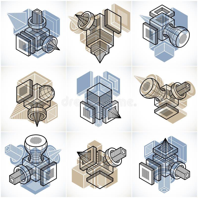τρισδιάστατα διανύσματα εφαρμοσμένης μηχανικής, συλλογή των αφηρημένων μορφών απεικόνιση αποθεμάτων