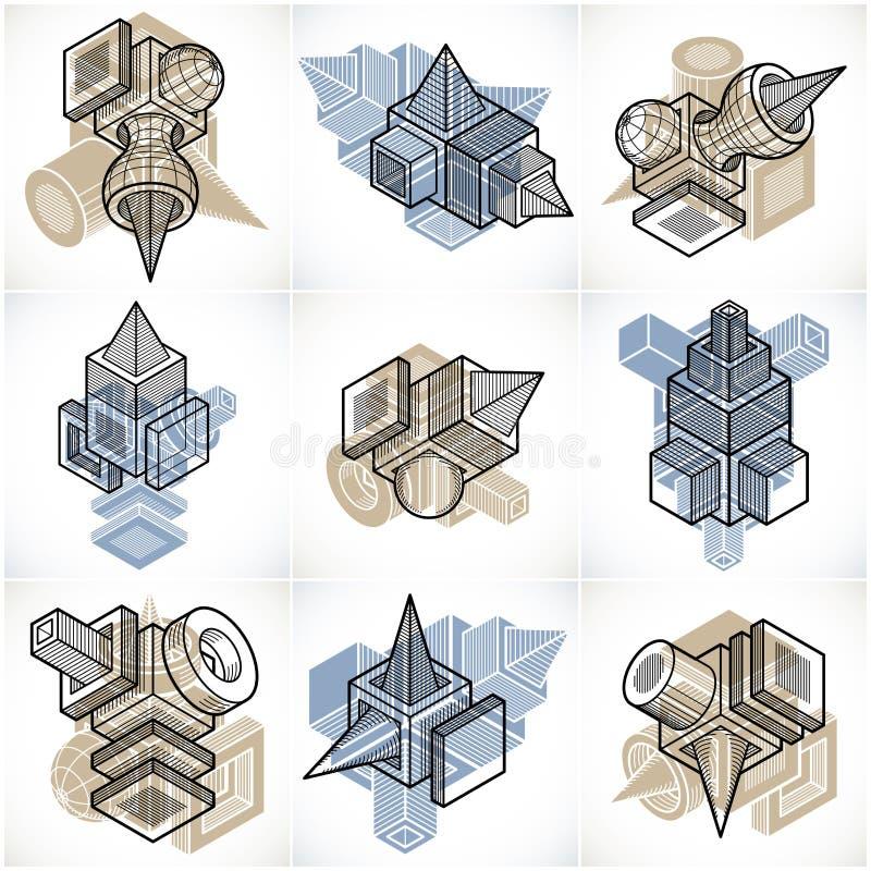 τρισδιάστατα διανύσματα εφαρμοσμένης μηχανικής, συλλογή των αφηρημένων μορφών διανυσματική απεικόνιση
