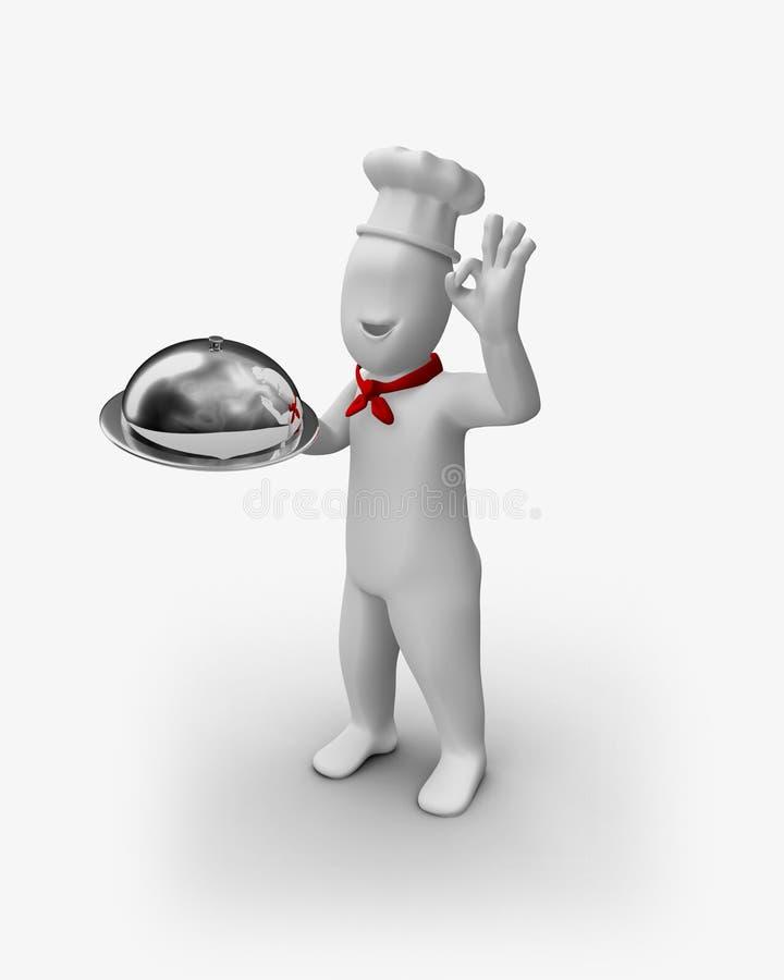τρισδιάστατα εξυπηρετούμενα αρχιμάγειρας τρόφιμα ο.κ. απεικόνιση αποθεμάτων