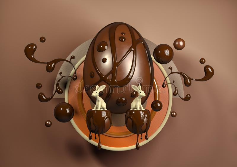 τρισδιάστατα κομψά σύγχρονα αυγά και κουνέλι απεικόνισης στοκ φωτογραφίες με δικαίωμα ελεύθερης χρήσης