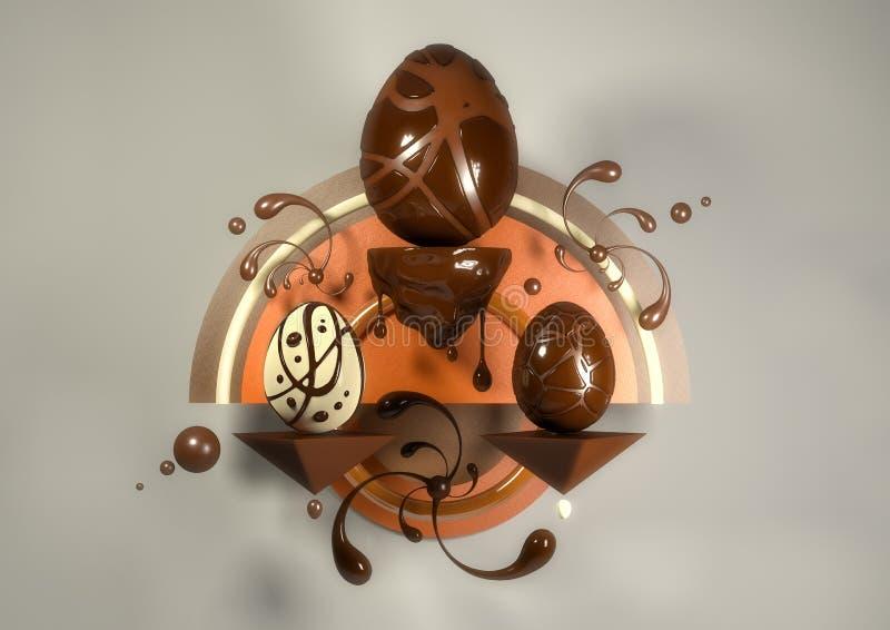 τρισδιάστατα κομψά σύγχρονα αυγά και κουνέλι απεικόνισης στοκ φωτογραφία με δικαίωμα ελεύθερης χρήσης