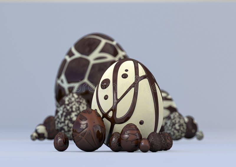 τρισδιάστατα κομψά σύγχρονα αυγά και κουνέλι απεικόνισης στοκ εικόνα με δικαίωμα ελεύθερης χρήσης