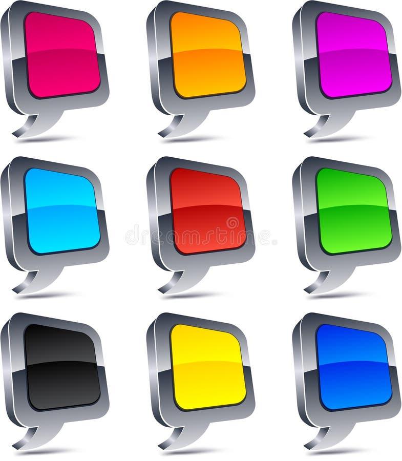 τρισδιάστατα κουμπιά μπα&lam διανυσματική απεικόνιση