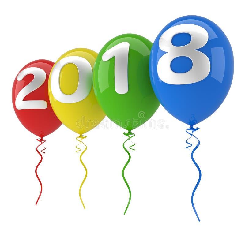 2018 τρισδιάστατα μπαλόνια ελεύθερη απεικόνιση δικαιώματος