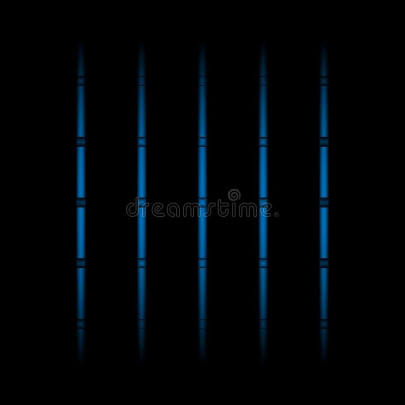 τρισδιάστατα μπλε εξασθενίζοντας ελαφριά στοιχεία νέου, κάθετα γραμμές και σημεία στο μαύρο υπόβαθρο Φουτουριστικό αφηρημένο σχέδ διανυσματική απεικόνιση