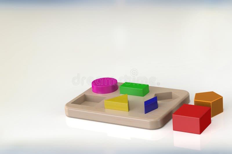 τρισδιάστατα ξύλινα παιχνίδια απόδοσης για τα παιδιά με πολλά μορφή στοκ εικόνα