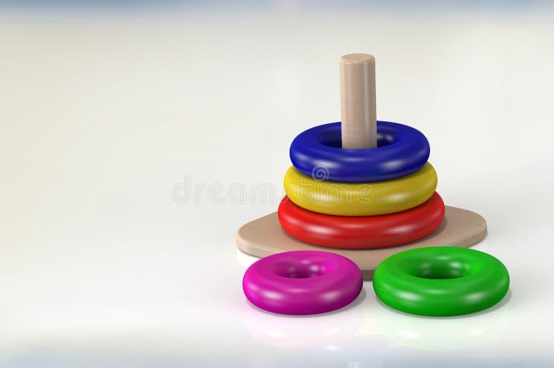 τρισδιάστατα ξύλινα παιχνίδια απόδοσης για τα παιδιά στο άσπρο υπόβαθρο στοκ εικόνες με δικαίωμα ελεύθερης χρήσης
